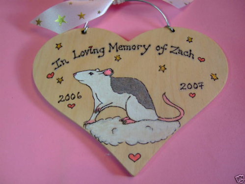 Rat Mouse Angel Memorial Heart Wooden Sign Any Breed/Colour Pet  Handmade To Order Personalised Plaque